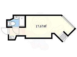 ビラ モデルナ 3階ワンルームの間取り