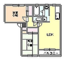 茨城県つくば市稲荷前の賃貸アパートの間取り