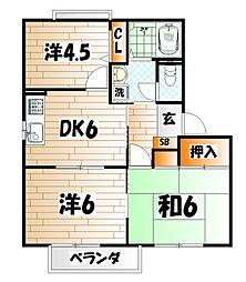 福岡県北九州市小倉北区青葉1丁目の賃貸アパートの間取り