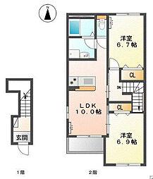 三木市本町新築アパート[203号室]の間取り