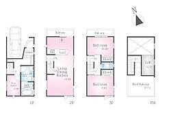 車庫・ルーフバルコニー付きプラン 建物面積:82.21m2 建物価格:1960万円