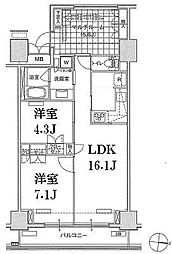 東京都江東区東雲1丁目の賃貸マンションの間取り