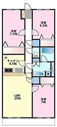 メリディアンガーデン雪月花[1階]の間取り