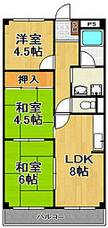 日海ハイツ[3階]の間取り