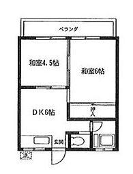 東京都世田谷区深沢6丁目の賃貸アパートの間取り