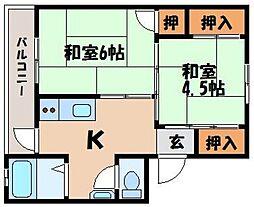 ビレッジハウス宮ヶ迫3[3階]の間取り