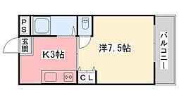 兵庫県西宮市甲風園2丁目の賃貸マンションの間取り