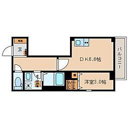 JR山手線 高田馬場駅 徒歩5分の賃貸マンション 3階1DKの間取り
