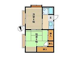 東京都世田谷区給田5丁目の賃貸アパートの間取り