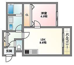 京阪本線 古川橋駅 徒歩9分の賃貸アパート 1階1LDKの間取り