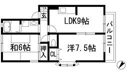 兵庫県伊丹市瑞穂町4丁目の賃貸アパートの間取り