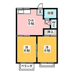 タウニイユートピアB[2階]の間取り