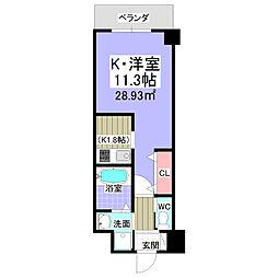 ブリランテIII番館 7階1Kの間取り