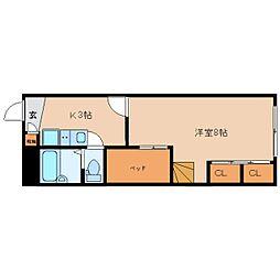 近鉄京都線 山田川駅 徒歩9分の賃貸マンション 1階1Kの間取り