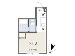 京王線 明大前駅 徒歩6分の賃貸アパート 2階ワンルームの間取り