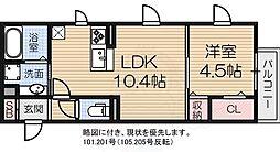 南海線 泉大津駅 徒歩7分の賃貸アパート 1階1LDKの間取り