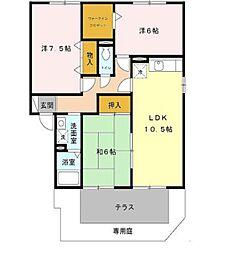 兵庫県姫路市大津区新町2丁目の賃貸アパートの間取り