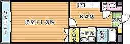 福岡県北九州市八幡西区穴生2丁目の賃貸マンションの間取り