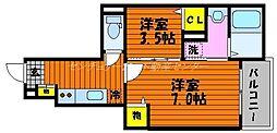 岡山電気軌道清輝橋線 清輝橋駅 徒歩24分の賃貸アパート 1階1Kの間取り