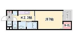 JR播但線 京口駅 徒歩8分の賃貸アパート 3階1Kの間取り