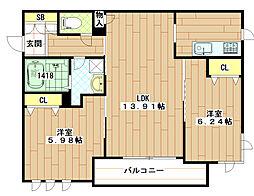 (仮称)東大阪市シャーメゾン岩田町1丁目[303号室]の間取り