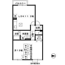 兵庫県明石市別所町の賃貸アパートの間取り