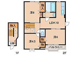 和歌山県紀の川市貴志川町上野山の賃貸アパートの間取り