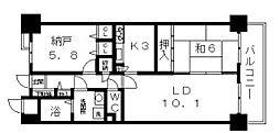 オレンジフラット[5階]の間取り