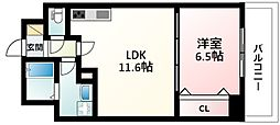 Osaka Metro御堂筋線 江坂駅 徒歩11分の賃貸マンション 8階1LDKの間取り
