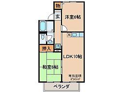京都府京都市山科区西野岸ノ下町の賃貸アパートの間取り