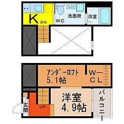 愛知県名古屋市熱田区三番町の賃貸アパートの間取り