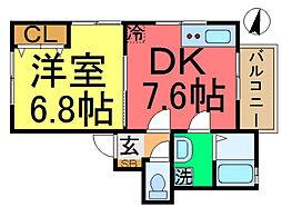 Casa K Matsushima 1階1DKの間取り