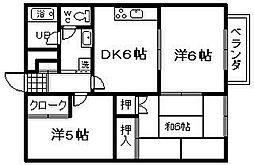 シーサイドマンションとにいわんA棟[2階]の間取り