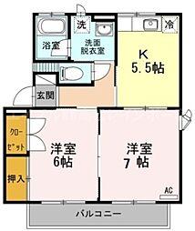 香川県高松市上天神町の賃貸アパートの間取り