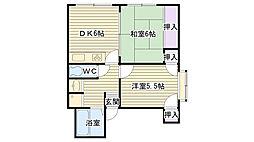 大阪府大阪市大正区南恩加島5丁目の賃貸マンションの間取り