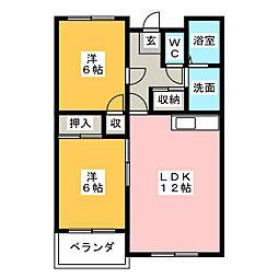 ルミエールE&F[3階]の間取り