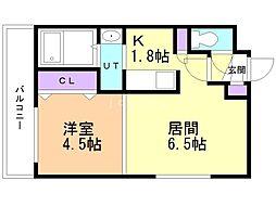 コートロティ南円山 2階1LDKの間取り