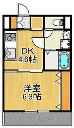 JR山陽本線 大久保駅 徒歩12分の賃貸アパート 3階1DKの間取り