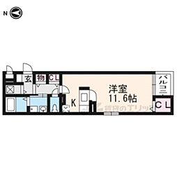 近鉄京都線 小倉駅 徒歩8分の賃貸マンション 3階1Kの間取り