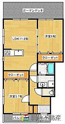 アパートメント佐賀大和[102号室]の間取り