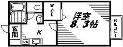 Osaka Metro谷町線 守口駅 徒歩6分の賃貸マンション 1階1Kの間取り