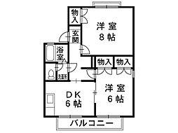 長野県塩尻市大字大門の賃貸アパートの間取り