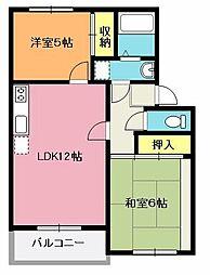 埼玉県北本市本宿8丁目の賃貸アパートの間取り