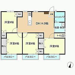 愛媛県西条市壬生川の賃貸アパートの間取り