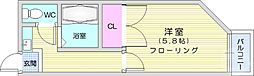 ソレイユ八木山 2階1Kの間取り
