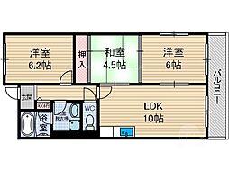 大阪府茨木市駅前3丁目の賃貸マンションの間取り