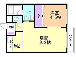 ユニbox.4 5階1LDKの間取り