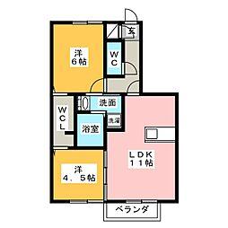 D-room南若松[1階]の間取り