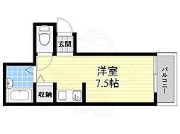 JR東海道・山陽本線 高槻駅 バス31分 大阪薬科大学下車 徒歩9分の賃貸アパート 2階ワンルームの間取り
