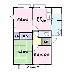 フレグランス金保B棟[1階]の間取り